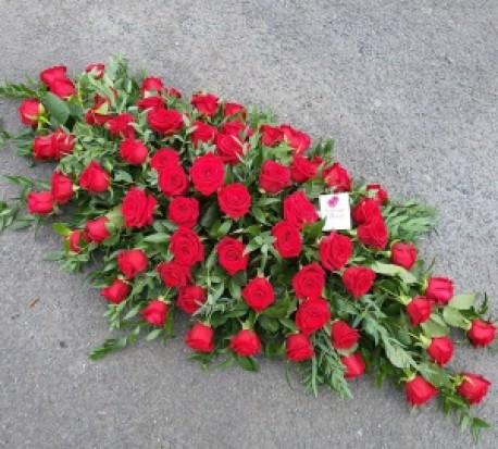 4ft red rose casket spray