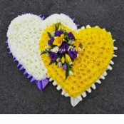 Double heart yellow, white and purple